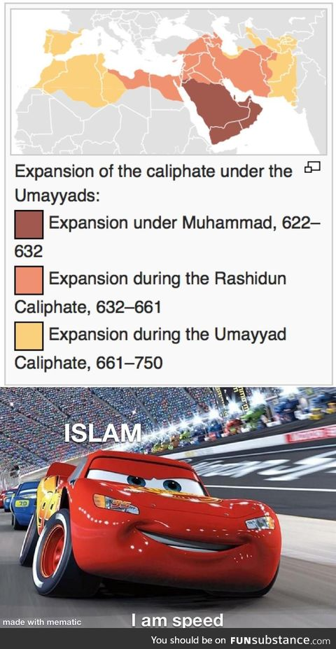 In the space of only 130 years Islam spread rapidly