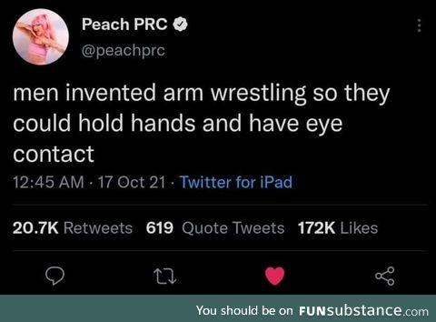 Men invented wrestling to normalise hugs